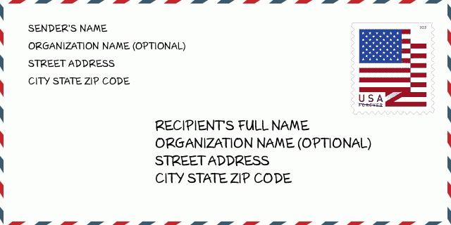 Zip Code Turkey United States Envelope Example